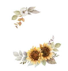 Watercolor autumn wreath with sunflower vector