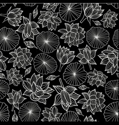 white on black waterlilies or lotus flowers and vector image