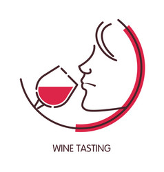 wine tasting logo with female profile and glass vector image