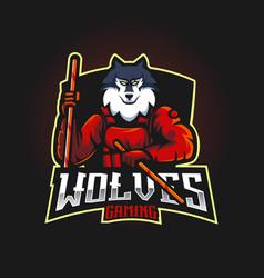 Wolf carries kali sticks vector