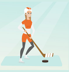 young caucasian ice hockey player vector image