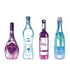 colorful hand drawn alcohol drinks isolated on vector image vector image