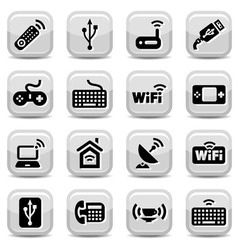 electronic and wifi icons vector image