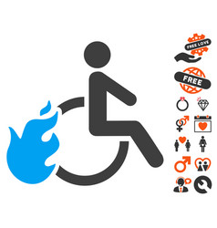 fired disabled person icon with love bonus vector image vector image