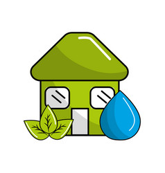 green house with leaves and water drop vector image