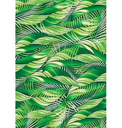 Green tropical palm and plant leaf repeat pattern vector image