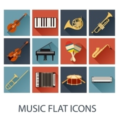 Set of flat music icons vector image