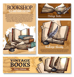 sketch poster for old vintage books library vector image vector image