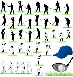 40 Detailed Golf silhouettes set vector image vector image