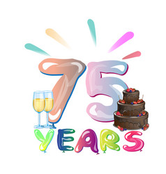 75 th anniversary greeting card with cake vector image vector image