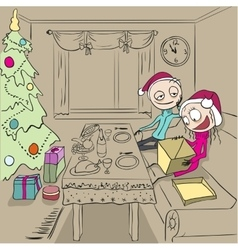 Christmas dinner Girl unpacks gift Couple in vector image