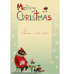 Christmas greeting card with bear and birds vector image vector image