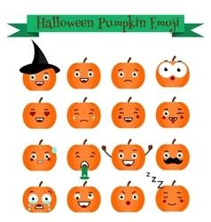 Cute halloween pumpkin emoji set Emoticons vector image