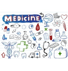 Doodle hospital icons vector image