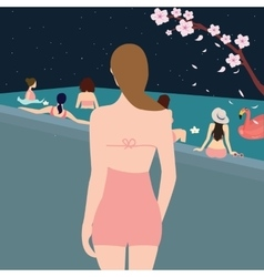 female woman back looking at swimming pool girls vector image