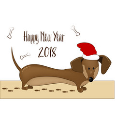 happy 2018 new year card funny dachshund dog vector image vector image