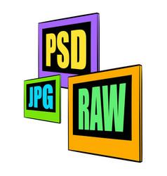psd jpg raw file icon cartoon vector image vector image