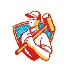 worker sledgehammer shield vector image vector image
