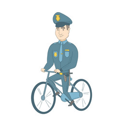 young caucasian police officer on bicycle vector image