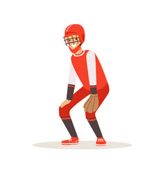 baseball player in a red uniform trying to catch vector image vector image