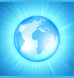 earth on sunburst background vector image