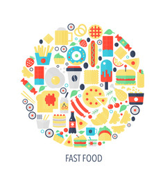 fast food flat infographics icons in circle - vector image