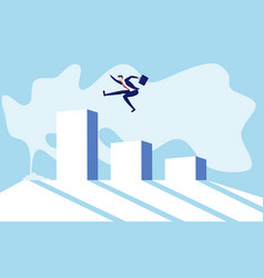 jumping on raising the graph celebrating success vector image vector image