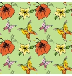Seamless pattern butterfly and flowers vector image vector image
