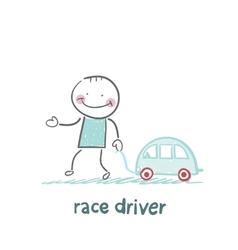 driver race car with a toy car vector image