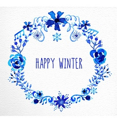 Winter flowers wreath greeting card vector image
