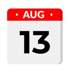 13 august calendar icon vector