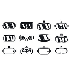3d game goggles icons set simple style vector image