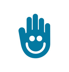 abstract hand smile icon logo concept vector image