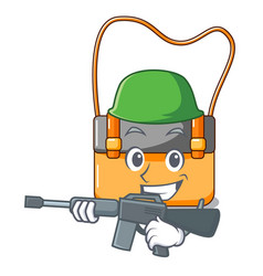 Army messenger bag on a isolated mascot vector