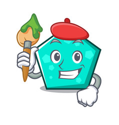 artist pentagon character cartoon style vector image