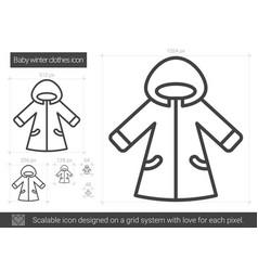 baby winter clothes line icon vector image