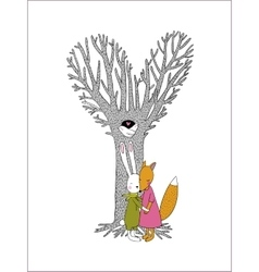 Beautiful magic tree two birds in a hollow hare vector