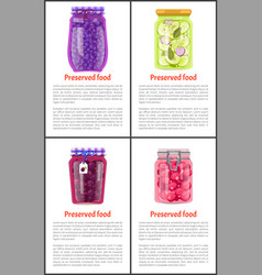 Berry and vegetable preserved food poster vector
