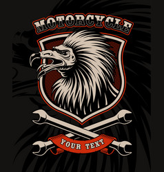 biker patch with vulture and crossed wrenches vector image