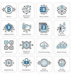bitcoin and blockchain cryptocurrency icons vector image