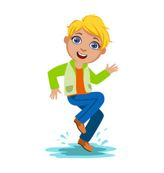 Boy dancing splashing water kid in autumn clothes vector