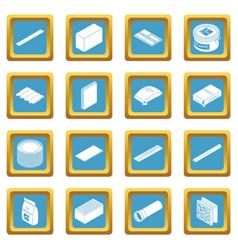 Building materials icons set sapphirine square vector
