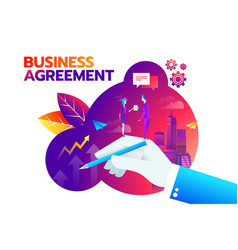 businessman and businesswoman shaking hand and vector image