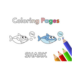cartoon shark coloring book vector image