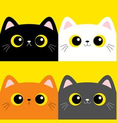 Cat kitten set square head face cute cartoon vector