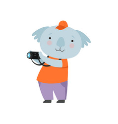 cheerful tourist koala bear taking pictures with vector image