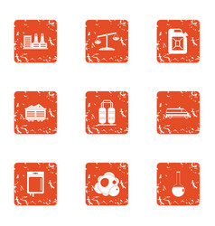 Chemical invasion icons set grunge style vector