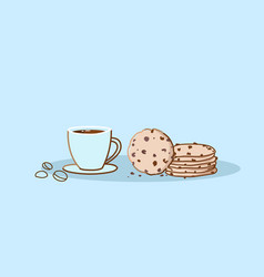 chocolate chip cookie with coffee cup sweet baked vector image