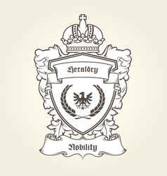 Coat of arms template with heraldic eagle shield vector