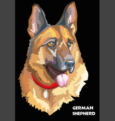 Colorful german shepherd hand drawing vector